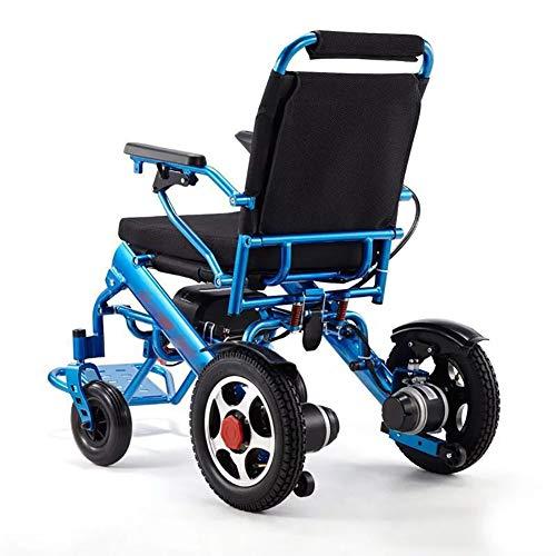 SUN RDPP Aluminiumlegierungs-elektrischer Rollstuhl-leichte Lithium-Batterie, die intelligenten Rollstuhlauto-älteren behinderten Vier runden, blau faltet