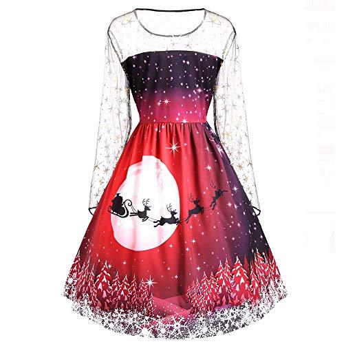 VEMOW 2018 Elegante Damen Frauen Frohe Weihnachten Vintage Weihnachtsmann Print Spitze Abendgesellschaft Kleid Cocktailkleider(X2-Rot, EU-34/CN-M) -