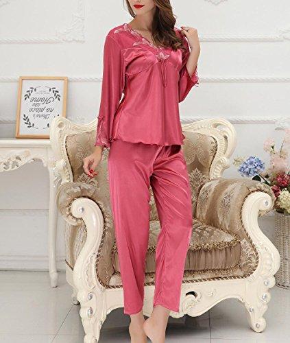 Aivtalk Femme Elégant Ensemble de 2PCS Pyjama Dentelle Imprimé à Fleur Manche Longue en Satin Pantalon Longue Luxe Vêtement de Nuit Chemise de Nuit en Soie Imitant Taille 38-44 - 4 Couleurs Rouge