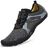 Sommer Barfußschuhe Herren Trail Laufschuhe Damen Indoor Outdoor Sport Fitnessschuhe Leicht Zehen Wander Trekking Schuhe für Frauen Männer Schwarz Gr.43