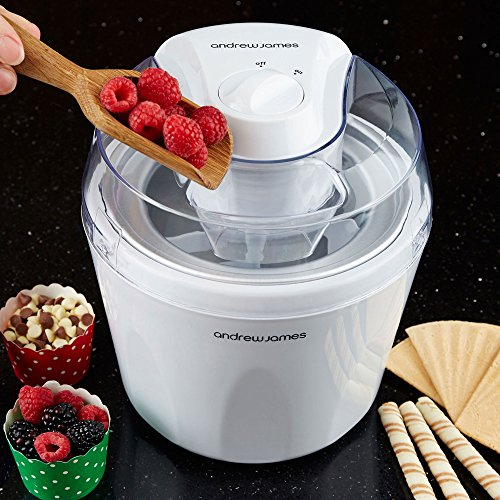 """Andrew James Ice Cream Maker – Voted """"Best Buy"""" By Which? Magazine. 1.5 Litre – White"""