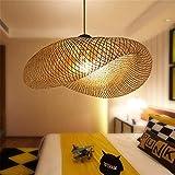 xydm Suspension Leuchten Rétro Style de l'asie du sud-est de bambou Lampe Plafonnier Thé Espace Salon en rotin Décoration AC110–240V E27