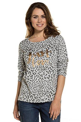 GINA LAURA Damen bis Größe 3XL | Pullover | Sweatshirt mit Animal-Print | Leoparden-Muster | Goldener Schriftzug | grau, weiß, gold mittelgrau XXL 712748 18-XXL (Animal-print Plus Size)