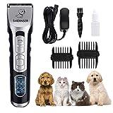 Hundeklipper Professionelle Hundesalon Trimmer mit LCD-Display, wiederaufladbare schnurlose Stille Haar Rasierer für lange dicke lockige Fell Tier, doppelte Spannung