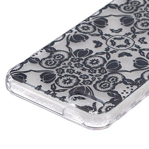 Linvei Hülle für iPhone 5/iPhone SE aus TPU Silikon mit Schöne Muster Design - Schutzhülle Cover in Transparent Schwarze Blumen-Totem