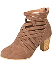 Botas, Manadlian Zapatos de tobillo de mujer botines de tacón alto con cremallera (EU:34, Marrón)