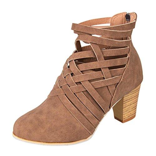 Botas, Manadlian Zapatos de tobillo de mujer botines de tacón alto con cremallera (EU:37, Marrón)