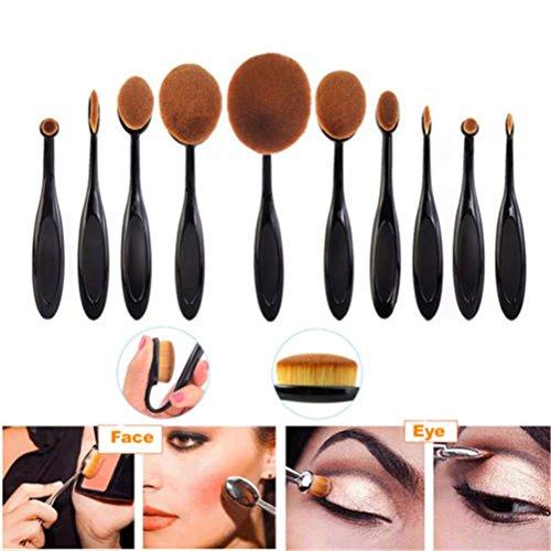 Sayue Ovales Pinceaux Maquillage, 10pcs Pinceaux Brosse à dents en forme maquillage Teint Poudre Oval Crème Brush