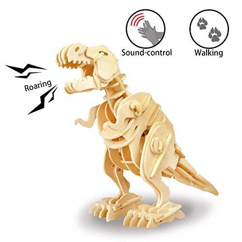 ROKR 3D Holz Dinosaurier Puzzle mit Sound-Kontrolle Roboter Walking T-Rex Modell Spielzeug für Kinder oder Erwachsene Vater Tage Kinder Tage (Walking T-Rex) - Roboter-t-rex