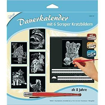 Scratch Motiv Elefanten Mammut 137001 Kratzbild quer Scraper Kratzset f/ür Kinder ab 8 Jahre Silber Komplettset mit Kratzmesser und /Übungsblatt Kritzel gl/änzend