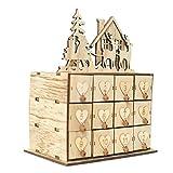 StageOnline Adventskalender Holz zum Befüllen Weihnachtskalender Weihnachten Selbstbefüllen Weihnachtskalender Aufbewahrungsbox Schmuckschatulle