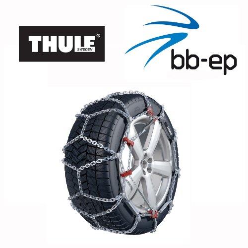 Hochleistungskette Thule Schneekette XD-16 (90104530) für schwere PKWs, SUVs und Transporter mit der Reifengröße 225/75 R16 - Mikroregulierung mit Spann-System und Felgenschutz für Aluminiumfelgen - Schneekette mit TÜV Ö-Norm 5117 und Q-Norm 5119 im Winterset mit hochwertigen Handschuhen