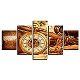 MURAEDLS Bilder Wandbild Leinwandbild Format Wandbilder Wohnzimmer Wohnung Deko Kunstdrucke 5 Teilig - Uhr 150x80cm(Mit Rahmen)