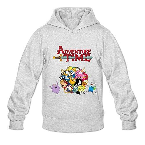 Buluew Herren Streetwear Adventure Time Hoodies Sweatshirt Größe US Weiß Ash Pullover Hoodie