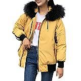 KIMODO Mantel Damen, Baumwolle Gefütterte Jacken Taschen Pelz Winter Oversize Hoodie Winterjacke Wintermantel Coats Outwear