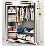 UDEAR Portable Canvas Wardrobes Clothes Storage Shelves Storage Wardrobe Beige105*45*170 CM