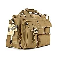Koolertron Mens Military Tactical Outdoor Sport Nylon Shoulder Messenger Bag Handbags Briefcase 14 Inch Laptop Bag (Khaki)
