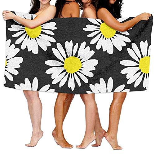 Hicyyu Microfiber Sand Free Beach Towel Blanket, Absorbent Lightweight Thin Towels, Daisies Flower Yellow White Bath Towel Adult Microfiber Towel 31 X 51 Inch Bath Sheet (Bar Towel White Bath)