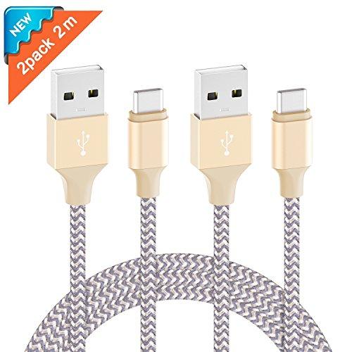 Ulinek USB C Kabel 2 Pack 2m Typ C Ladekabel Nylon USB Type C Datenkabel, Kompatibel mit Samsung Galaxy S9 S8 plus/Note 8/A5 A3 A7 2017, LG G5 G6 V20, Huawei P9/P10/P20/honor10/8/9, Mate9 10, Sony Xperia XZ, Lumia 950XL usw