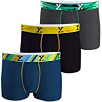 XYXX Men's Viscose Micro Modal Trunk (Splash Blue, Helios Black and Coral Grey, Medium)- Set of 3