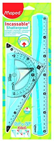 Maped Kit de traçage géométrie incassable - modele aleatoire bleu ou vert