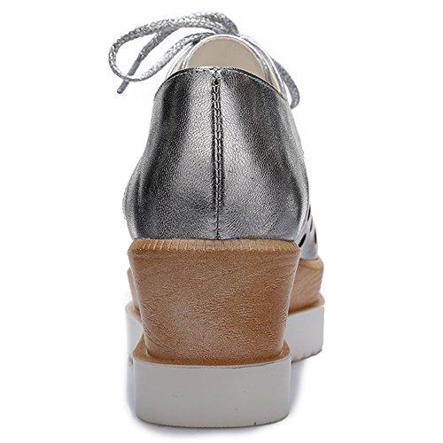 Damen Geschlossene Toe Pumps High Heels Keilabsatz Schnürschuhe Silber