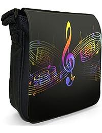 Music Melody Small Black Canvas Shoulder Bag / Handbag