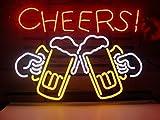 Cheers Bier Echtglas Neon Light Sign Home Bier Bar Kneipe Erholung Raum Spiel Windows der Garage Store (43,2x 35,6cm den großen)