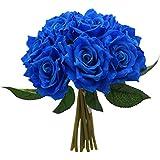 Fourwalls Artificial Rose Bouquet (26 cm, Blue, 10 Flower Stems)