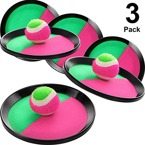 Maitys Ballwurf- und Fangspiel Klettball, 3 Sätze Paddelwurf- und Fangball, 6 Paddel und 3 Bälle, Geeignet für Sport, Strand, Geburtstagsgeschenke