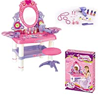 Kids Girls Mirror Dressing Table Pink Dresser Play Set Glamour Beauty Make up Desk Toy Bedroom Table Play Children Creative Game Fun Christmas Gift (SI-TY1080)