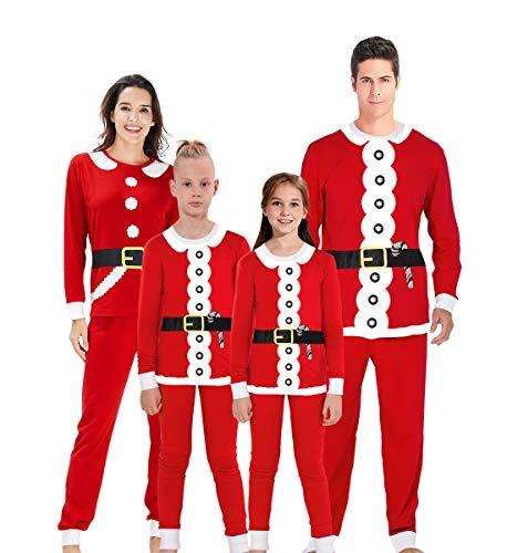 (AIDEAONE Weihnachten Pyjama Set Warme Familie Passende Nachtwäsche Jungen Gils Nachtwäsche Freizeitkleidung für Kinder)