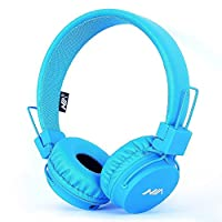 Wired Kids Headphone with Microphone, Foldable Headset for Children Toddler by Ellien (Blue)