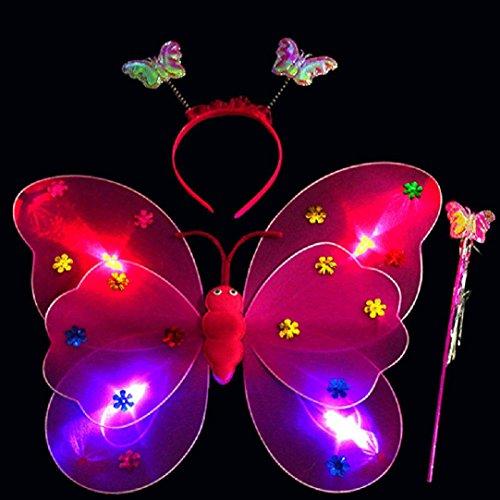 Diy Kostüme Baby Niedliche (Upxiang 3 Stück Baby Mädchen LED Schmetterling Stirnband / LED Schmetterling Magic Wand / Schmetterling Flügel / reizend Partei-Kostüm-Prinzessin-Mädchen-Kind-Schmetterlings-Flügel-Stab-Stirnband-Feenhaftes Weihnachtskostüm, passt Kindergarten, Geburtstag, Hallowmas Party Kostüm)
