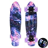 CY Mini Cruiser Shortboard Graphic Skateboards 22 Zoll(56cm) Kunststoff-Board im Retro-Stil Fertig Montiert Cute Floral Skull