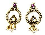 Poddar Jewels Golden Pearl Purple Earrin...