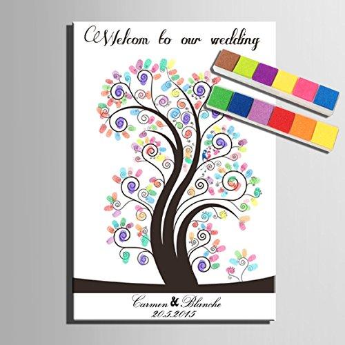 Gebogene Blätter DIY Fingerabdruck Unterschrift Dekorative Malerei Geburtstag Party Hochzeit Leinwand Gemälde 40x60cm,A-80*120cm (Gebogene Leinwand 120)