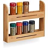 Relaxdays estantería de madera, Soporte para botes de especias, Cocina, Bambú, H x L x P: 26 x 31 x 6 cm, natural