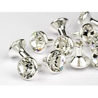Chaton-Nieten von Swarovski Elements  SS34 (Crystal, Silber) - 4mm Schaft, 10 Stück