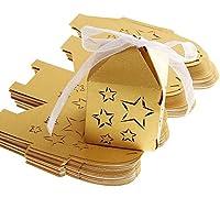 LEORX CANDY Scatole Regalo per Matrimonio Feste Baby Shower Favors Scatole Oro (giallo), (Bridal Shower Regalo Regalo Di Nozze)