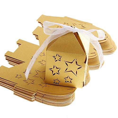NUOLUX Taglio Laser 50pcs stella modello carta caramelle dolci regalo scatole Baby Shower favori (giallo oro)