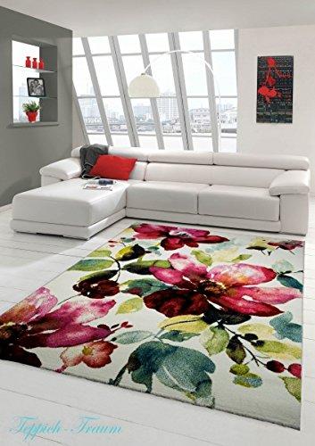 Tappeto Designer Tappeto moderno tappeto del salotto motivo floreale Creme Verde Turchese Rosa Rosa Größe 80x150 cm