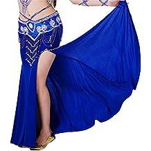 Calcifer alta calidad elegante algodón con bordado danza del vientre falda disfraz baile vestido para mujer profesional Dancer, azul real