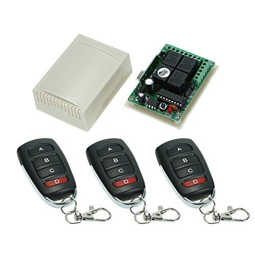 OWSOOFernbedienung Schalter Empfängermodul 433 MHz DC 12 V 4CH Universal 10A Relais Drahtlose und 4 Stücke 4 Schlüssel RF 433 MHz Sender Fernbedienungen 1527 Chip Smart Home Automation, 3 Stücke -