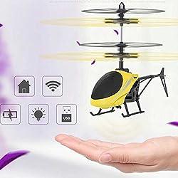 Eleganantamazing - Mando a Distancia Infantil para niños (Juguete Inteligente por Infrarrojos, helicóptero de inducción, tamaño pequeño), Color Amarillo