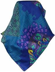 Echarpe Foulard Premier Qualité Classic Motif Maya en Bleu et Vert en 100% Soie du Mûrier de Pashmina & Silk