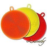 Luxcathy 3 Pack Silikon Wasch Antibakterielle Schwamm für Geschirr, Obst, Gemüse Reinigung und hitzebeständige Matte, 4