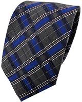 TigerTie Krawatte blau royal anthrazit silber schwarz kariert - Schlips Binder Tie