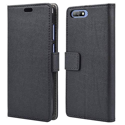 acho TREE Hülle für Huawei Y6 2018, PU Leder Flip Case Handyhülle Huawei Y6 2018 Tasche Brieftasche Schutzhülle, mit Magnetic Closure & Standfunktion - Schwarz