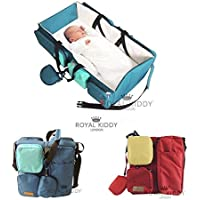 ROYAL KIDDY LONDON © 3 IN 1 FOLDABLE BABY TRAVEL BAG AS BABY CHANGING BAG, NURSERY BAG, DIAPERS BAG & BASSINET (MAROON)